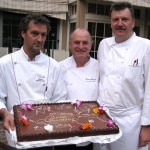 The three French chefs who prepared the food for the cocktail reception; pastry chef Yvan Valentin, chefs Pierre Sauvaget and Bruno Lopez