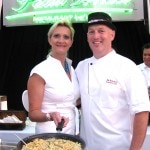 Sophie Gayot helping chef Bill Bracken, from the Island Hotel, Newport Beach, CA, with his macaroni and cheese