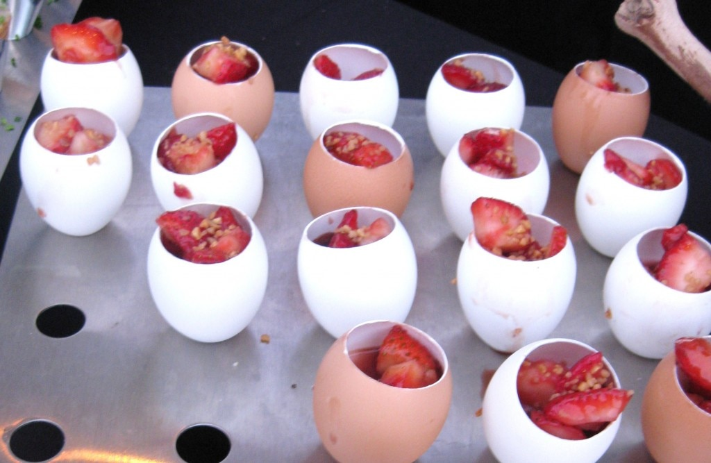 Strawberry Charlotte served in an egg shell from chef Olivier Rousselle