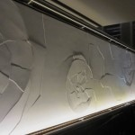 Cracked eggshell wall by interior designer Adam Tihany