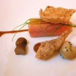 King Salmon with porcini mushrooms and pine nut butter