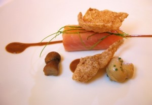 food2 300x208 King Salmon with porcini mushrooms and pine nut butter