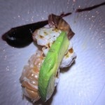 Grilled langoustine with TTB sauce and avocado
