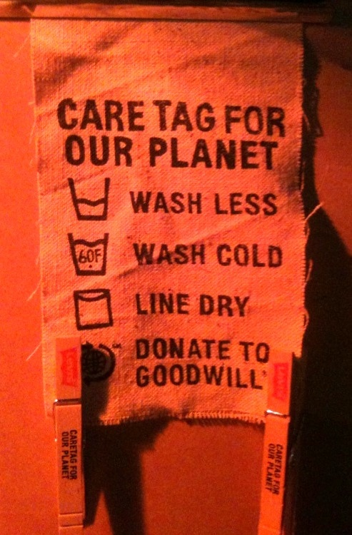A mock clothing tag promoting eco-friendly laundering techniques