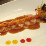 Scallop ceviche with ponzu, mango, pineapple, ginger and rocoto pepper sauce