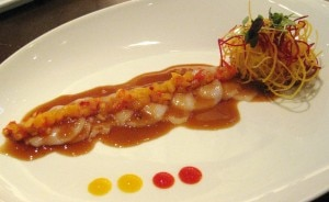 scallopceviche 300x184 Scallop ceviche with ponzu, mango, pineapple, ginger and rocoto pepper sauce