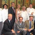 Sophie Gayot with from left: Davide Giova, pastry chef at Valentino; Giampiero Ceppaglia, chef at Caffe` Roma; Roberto Maggioni, chef at Locanda del Lago; Salvatore Marino, owner/chef at Il Grano; Nicola Faganello, Consul General; Celestino Drago, owner/chef at Drago; Angelo Zarbo, chef at Il Moro; Brandon Weaver, chef at Peninsula Hotel Beverly Hills; Carlo Angelo Bocchi, Trade Commissioner, Italian Trade Commission; Elio de Santo, owner/chef at Il Moro. From left, below: West Hooker-Poletti, owner Locanda del Lago; Emilio Marchione, manager at Caffè Roma; Piero Selvaggio, owner, Valentino; Giuseppe Mollica, special events director at Valentino