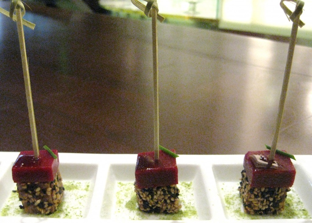 "Tuna raspberry skewers with ahi tuna, ""molecular"" raspberry and wasabi"