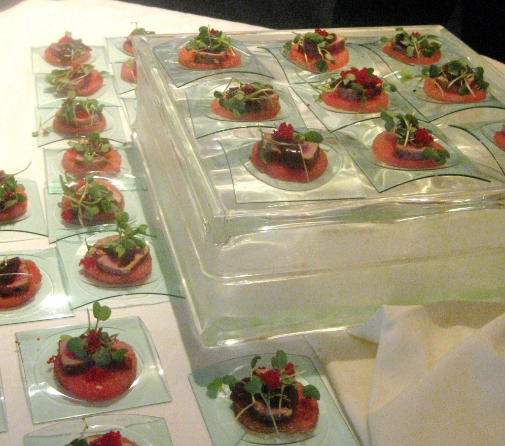 Seared ahi on watermelon carpaccio from Baleen Los Angeles