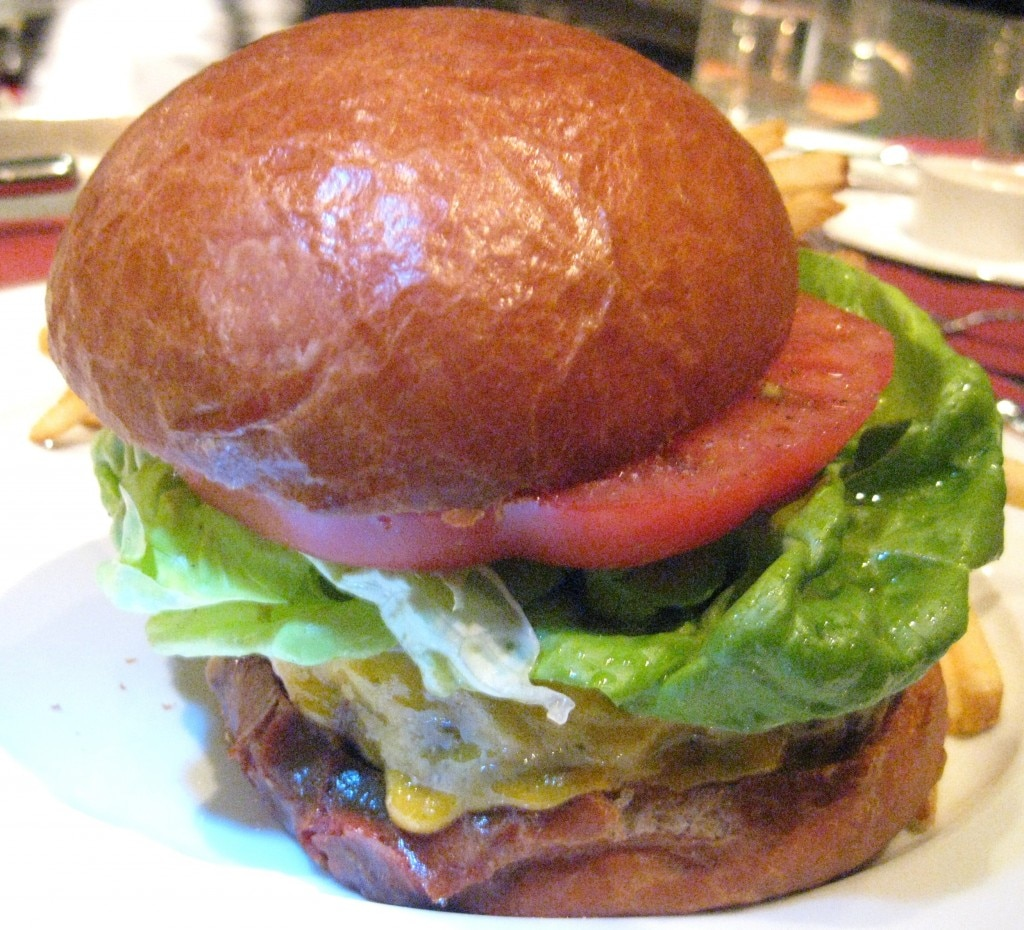 The beef burger at Bouchon Beverly Hills