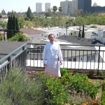 Chef James Overbaugh from The Belvedere restaurant at The Peninsula Beverly Hills in his fresh garden on the rooftop of the hotel