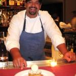 Chef Rory Herrmann with a rhubard/strawberries warm cake