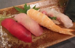 fijiwaterdinnernobusushi 300x194 An array of colorful sushi from chef Nobu