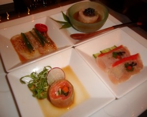 Four appetizers from Chef Nobu