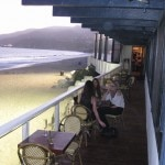 The balcony overlooking the beach at Gladstone's