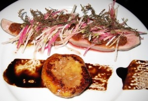 Steamed duck with lemon verbena, crispy skin purée, white peach, radish and balsamic