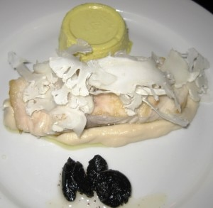 ludobiteswildstripedbass1 300x293 Wild striped bass with cauliflower, black garlic and yellow panna cotta
