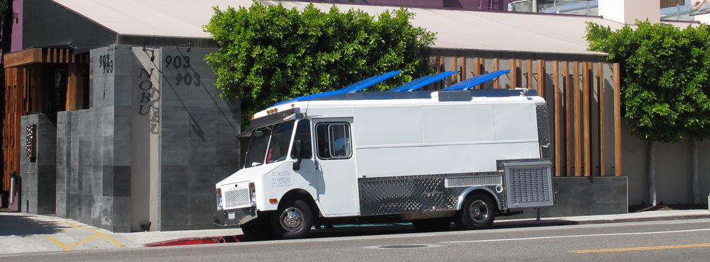 A food truck parked in front of Nobu in Los Angeles