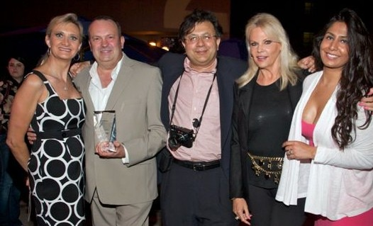 Honoree Jim Morrison, Mr. Ganguly, Carla Daly and Ishita Ganguly-Morrison with Sophie Gayot