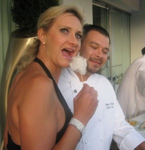 Chef de cuisine Jorge Chicas of The Bazaar with Sophie Gayot eating cotton candy foie gras