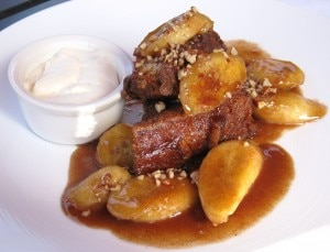 tiatobananafoster 300x229 French toast bananas Foster with bourbon vanilla maple syrup, pecans and Chantilly cream
