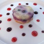 Quad berry cobbler with vanilla ice cream