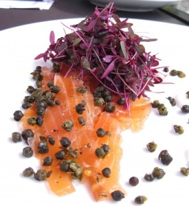 tiatosmokedsalmon 275x300 Cured salmon carpaccio with fried capers, horseradish crème fraiche and garden herbs