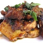 Baked eggplant tofu with Vietnamese herbs, black bean sauce and rice