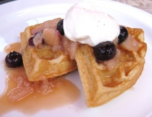 tiatowaffles 300x232 Gluten free waffle with white nectarine & blueberry compote, and Grand Marnier Chantilly cream
