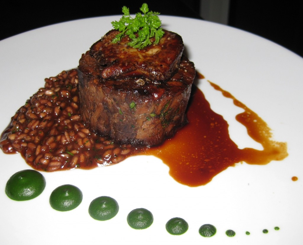 Braised shin of beef with red wine risotto, parsley purée and seared foie gras
