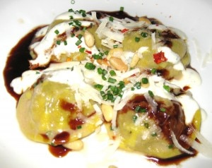 braisedbeefravioli 300x238 Braised beef lengua ravioli with spiced lebni, toasted pine nuts and dry chile