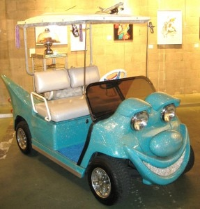 car 287x300 Golf cart designed by New York artist Kenny Scharf