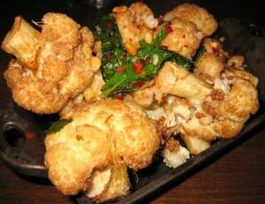 Caramelized cauliflower with pine nuts, chile flakes and mint