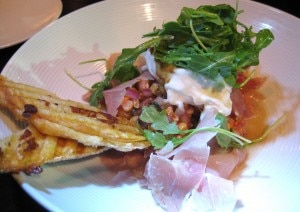grilledpeach 300x212 Bentons Ham, burrata, grilled peach and corn salsa
