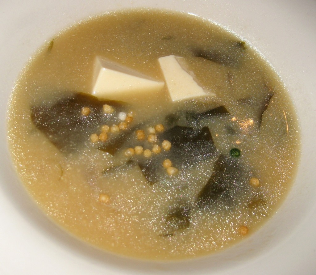 Miso soup; homemade-style miso with tofu, egg and onions