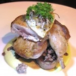 Manchester quail with chopped liver on toast