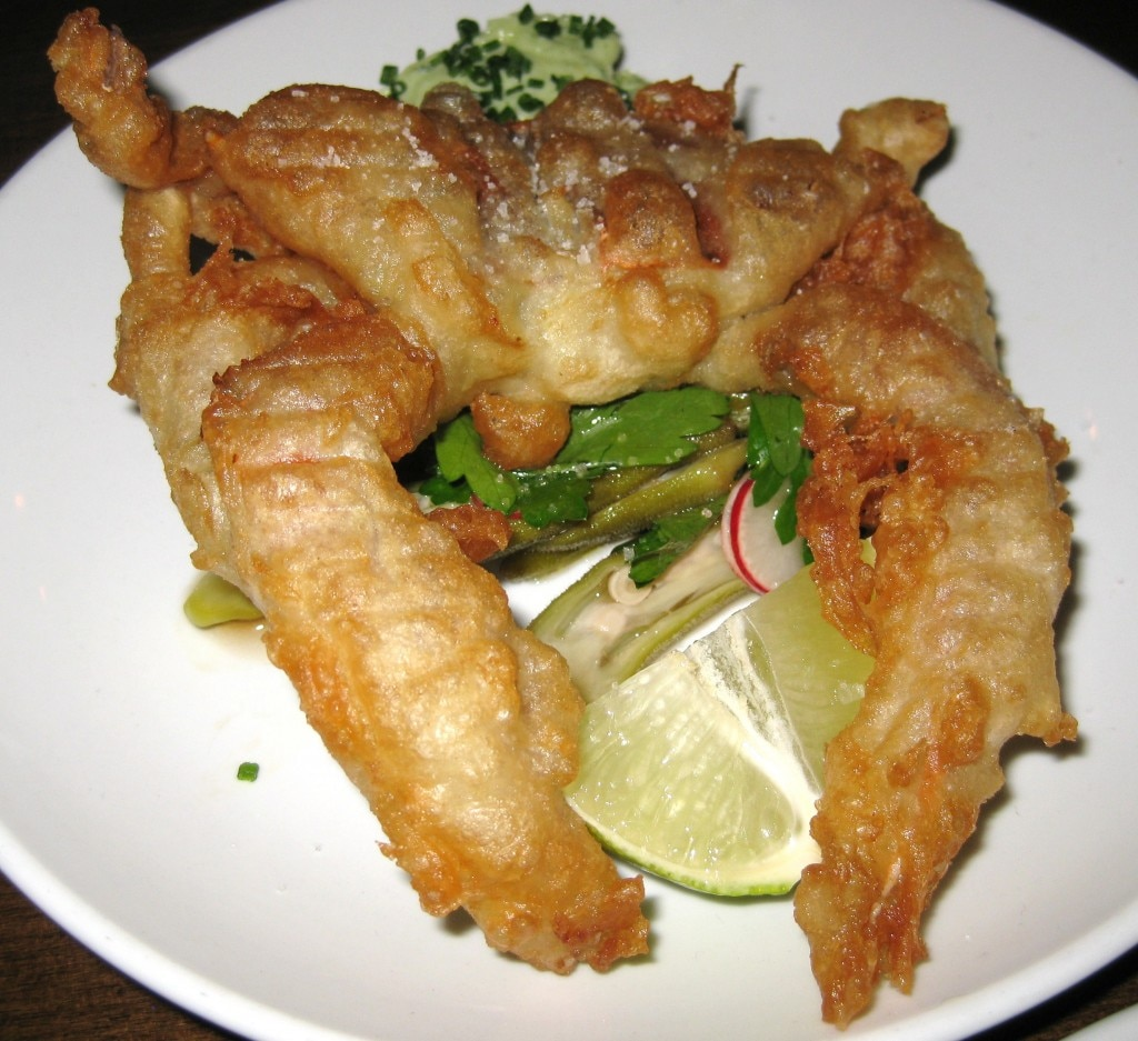 Soft shell crab with okra salad