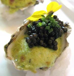 spagobeverlyhillsoyster 292x300 Baked Kumamoto oyster gratin with Oscetra caviar