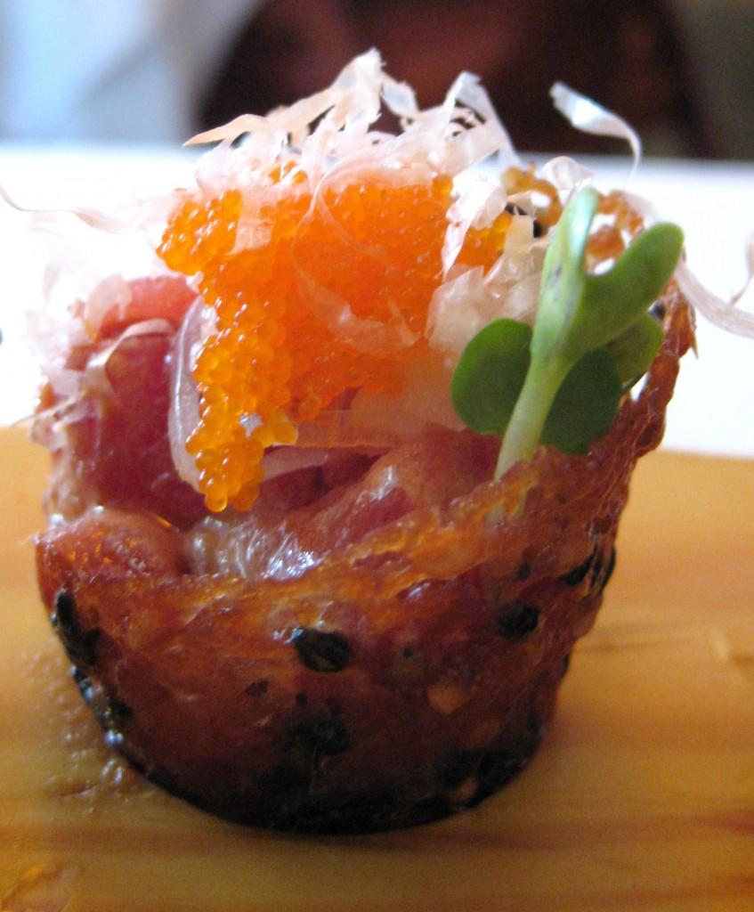 Tuna tartare in sesame cones topped with bonito flakes for Bonito fish flakes