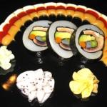 Dragon's eye; squid wrapped with tuna, yellowtail, halibut, salmon, avocado and asparagus