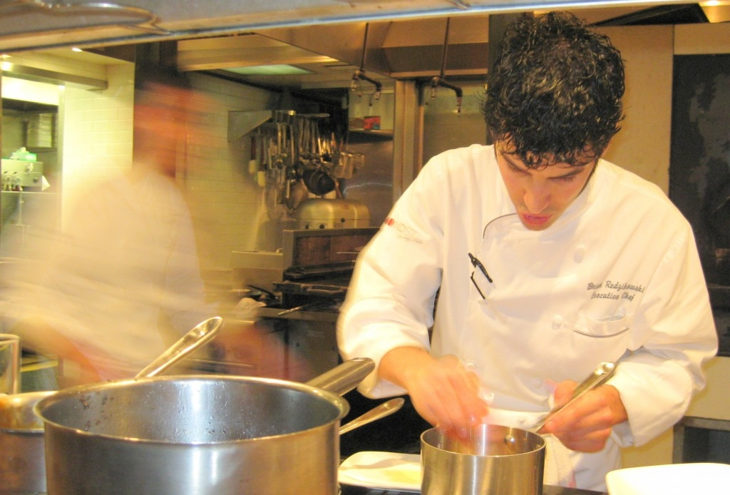 Chef Brian Redzikowski of BondSt Beverly Hills cooking at Test Kitchen