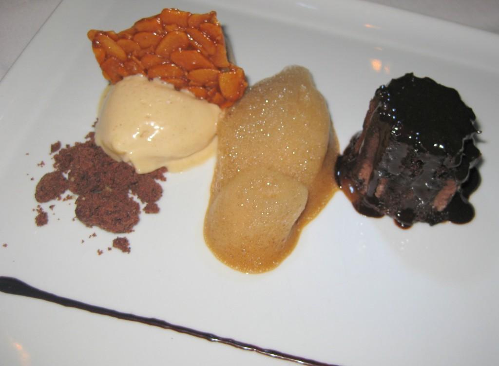 Cannele gelato with café chocolate gateau and crème of espresso