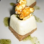 """Goat cheese cheesecake with Mexican """"root beer"""" sauce and caramel popcorn"""
