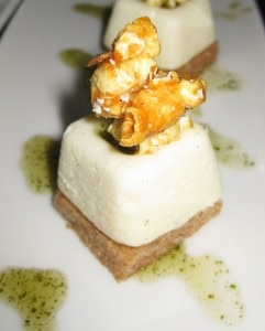 goat cheese cheesecake 241x300 Goat cheese cheesecake with Mexican root beer sauce and caramel popcorn