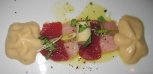hamachi 300x146 Hamachi crudo with truffle ponzu, charred green onion aioli and beignet de chanterelles