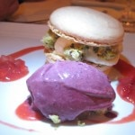 Macaron of mascarpone with pistachio streusel and cassis ice cream