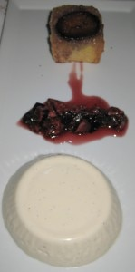 pann cotta 149x300 Tahitian vanilla bean panna cotta with fig and banyuls compote, semolina fig gateau