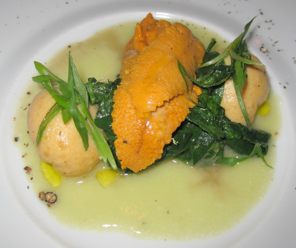 Sea urchin & scallop dumplings with wasabi beurre montée and sautéed Bloomsdale spinach