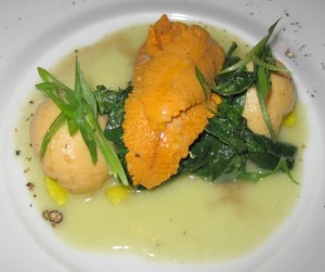 sea urchin scallop 300x251 Sea urchin & scallop dumplings with wasabi beurre montée and sautéed Bloomsdale spinach