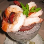 Jumbo shrimp cocktail with spicy cocktail sauce